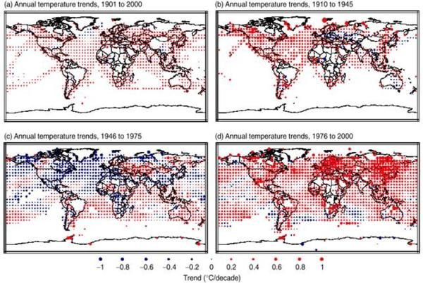 Мировая карта изменения средней температуры
