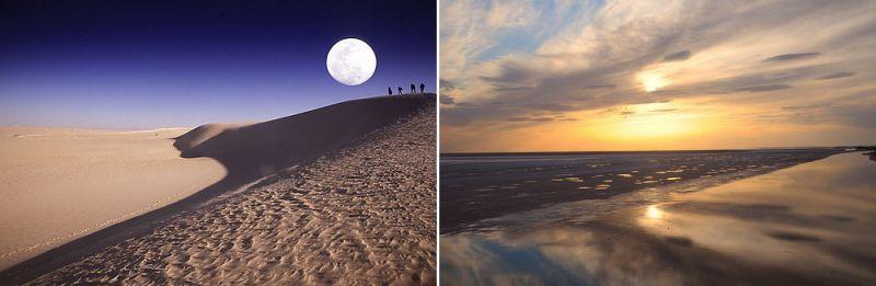 Закат над озером Шотт-эль-Джерид и в пустыне вблизи Нефты