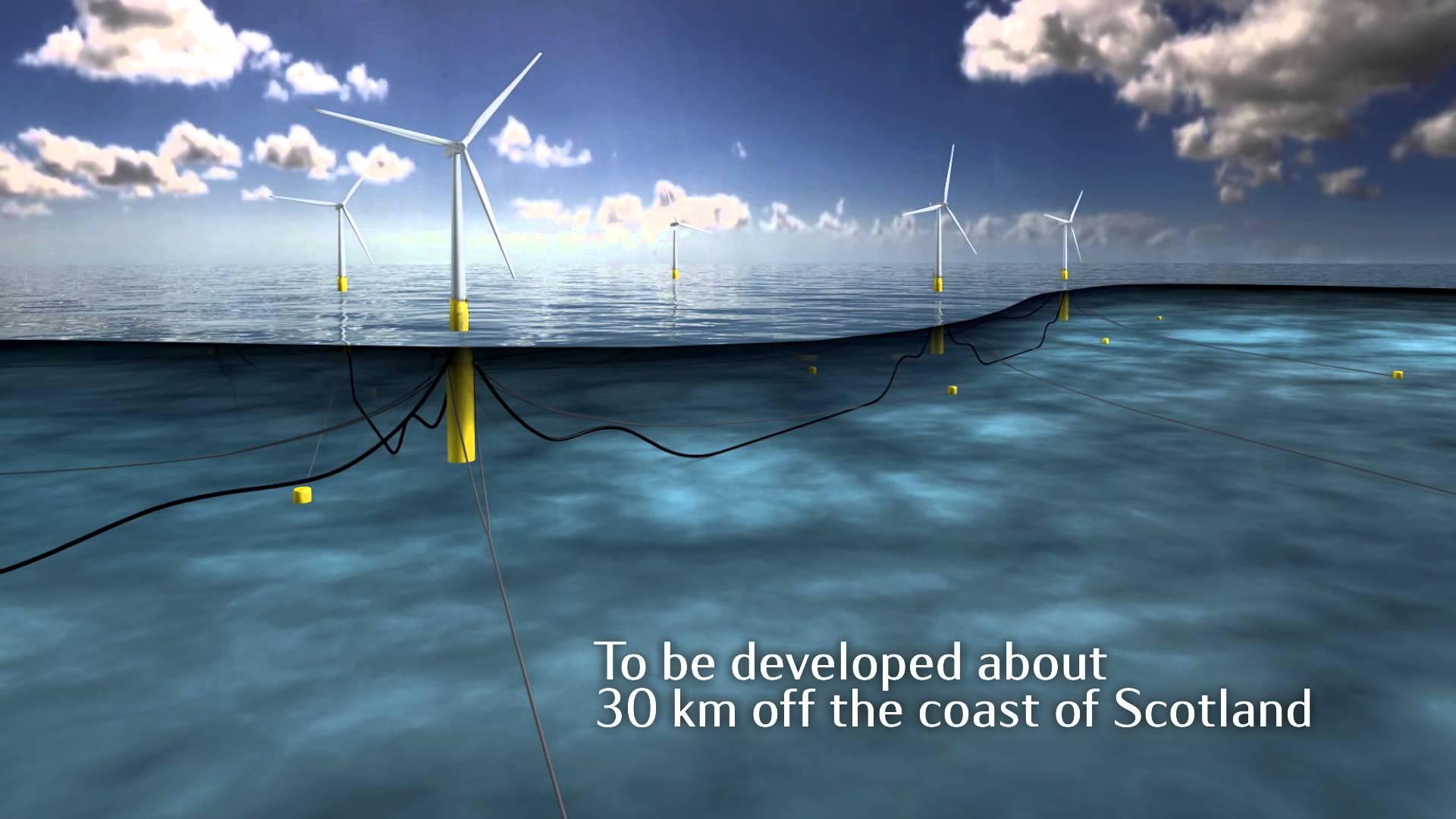 Запущены первые в мире плавучие морские ветряные турбины
