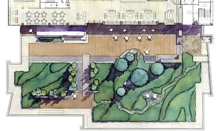 Зеленая крыша центра Washington Mutual в Сиэтле, США