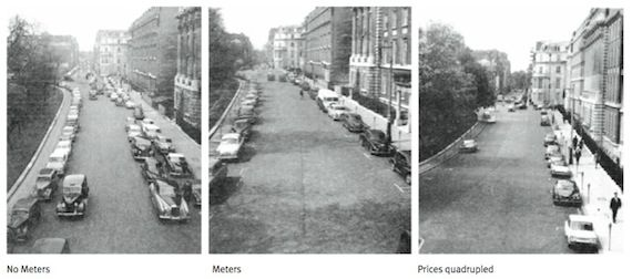 Гроувенор-Сквер, Лондон, пример изменения масштабов парковки и освобождения улицы при введении контроля и регулируемой оплаты
