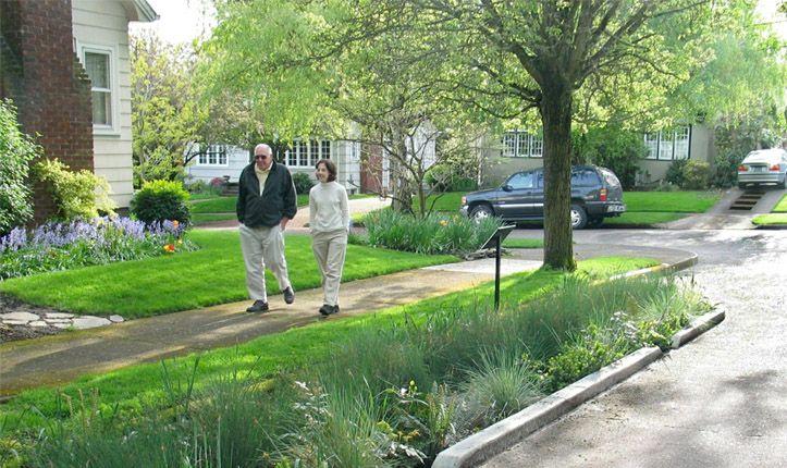 Управление ливнестоком на северо-восточной зеленой улице Siskiyou, Портланд, США