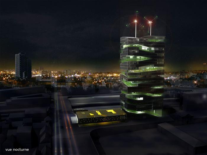 Проект «Живая башня» от SOA Architects: ночь