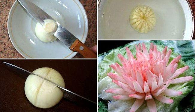 Делаем хризантему из репчатого лука