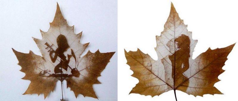 Красота женского тела на осеннем листе